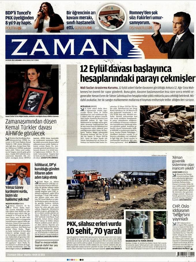 Gazete Manşetleri - 19 Eylül Çarşamba 1
