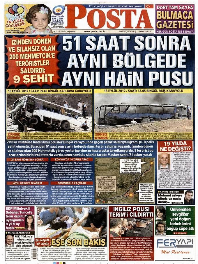 Gazete Manşetleri - 19 Eylül Çarşamba 13