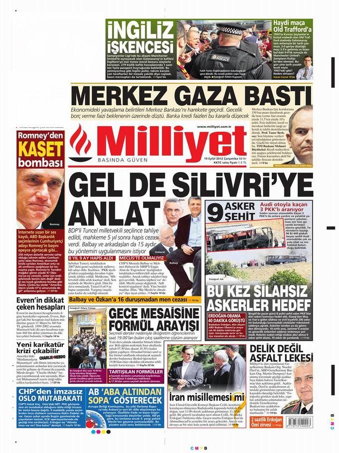 Gazete Manşetleri - 19 Eylül Çarşamba 15
