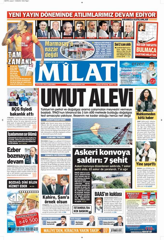 Gazete Manşetleri - 19 Eylül Çarşamba 17