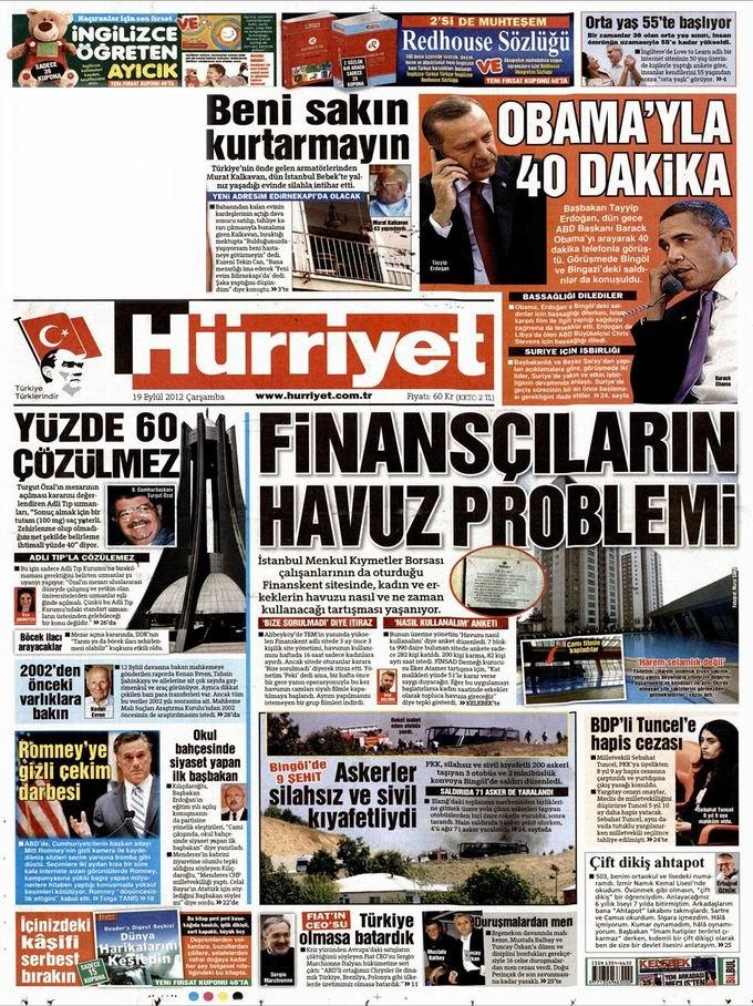 Gazete Manşetleri - 19 Eylül Çarşamba 18