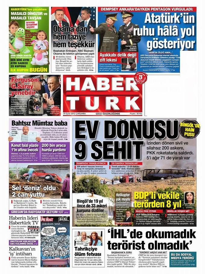 Gazete Manşetleri - 19 Eylül Çarşamba 19