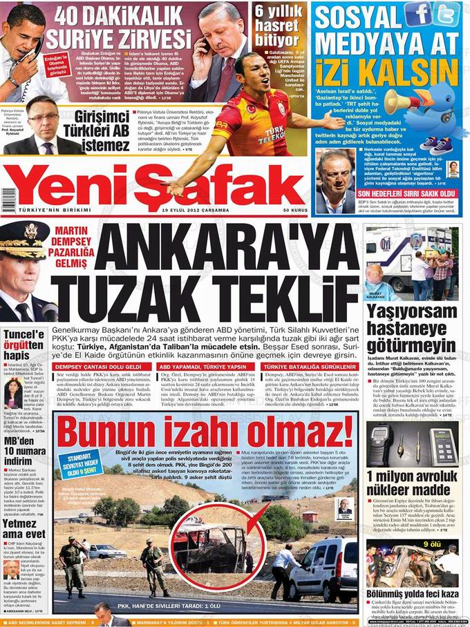 Gazete Manşetleri - 19 Eylül Çarşamba 2