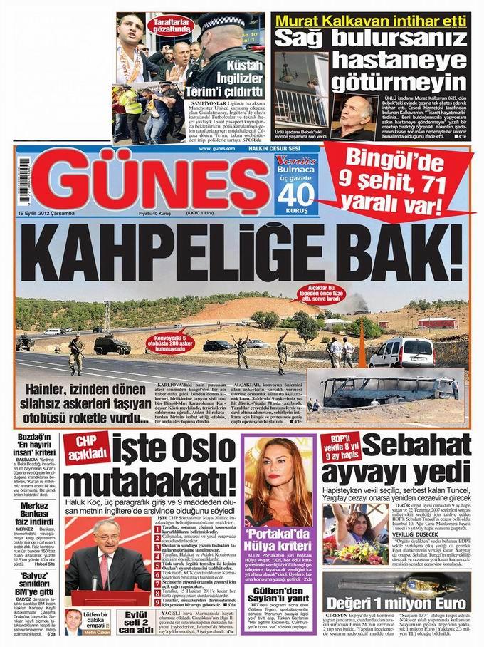 Gazete Manşetleri - 19 Eylül Çarşamba 20