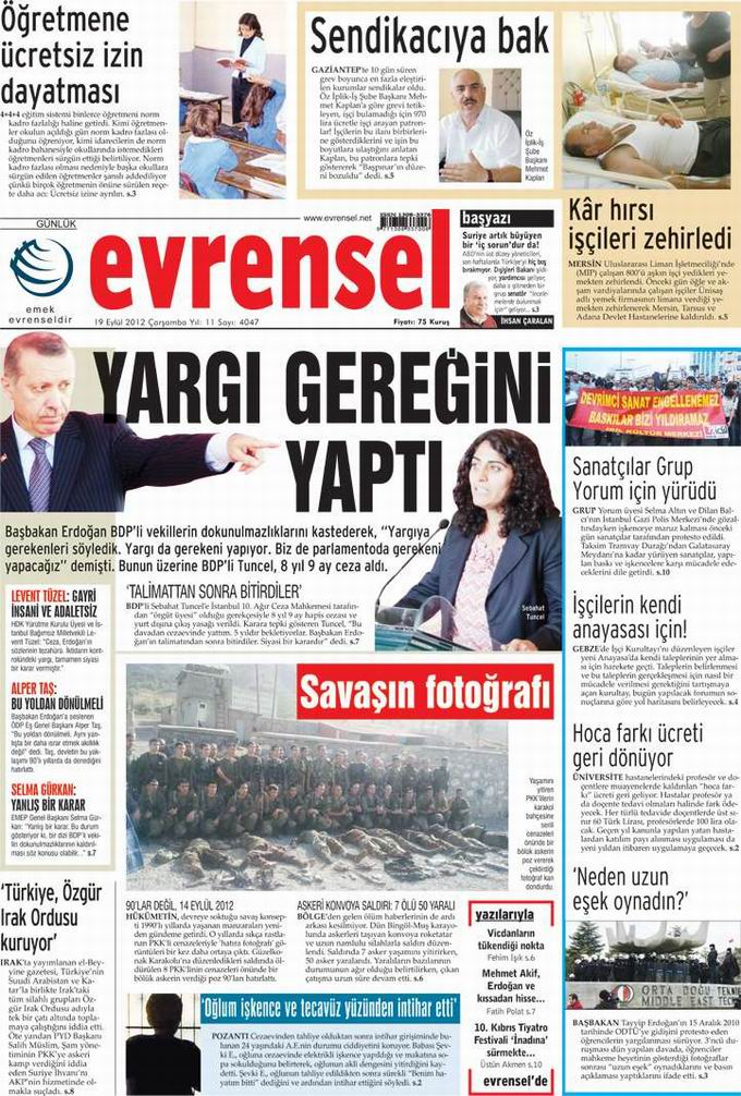 Gazete Manşetleri - 19 Eylül Çarşamba 21