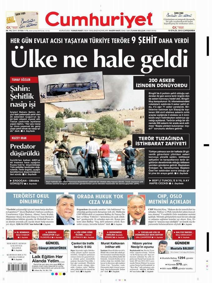 Gazete Manşetleri - 19 Eylül Çarşamba 22