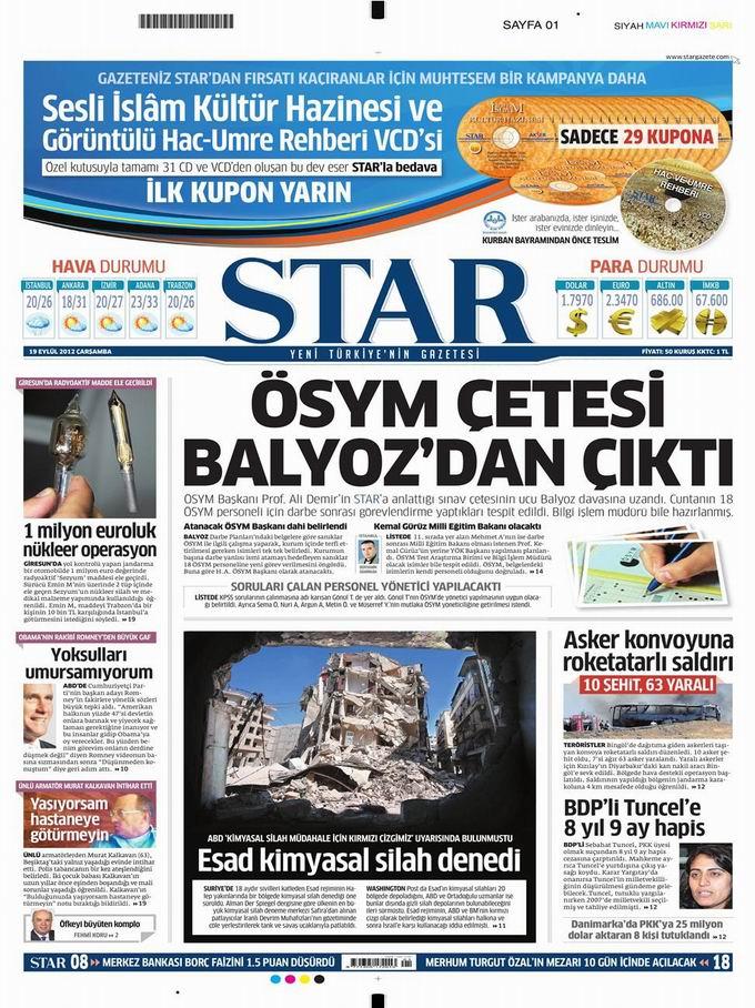 Gazete Manşetleri - 19 Eylül Çarşamba 9