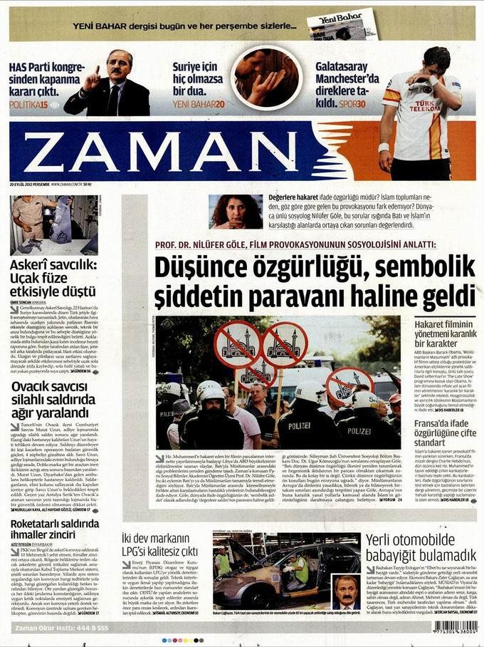 Gazete Manşetleri - 20 Eylül Perşembe 1