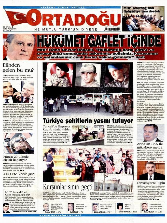 Gazete Manşetleri - 20 Eylül Perşembe 12