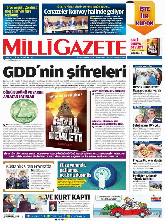 Gazete Manşetleri - 20 Eylül Perşembe 14
