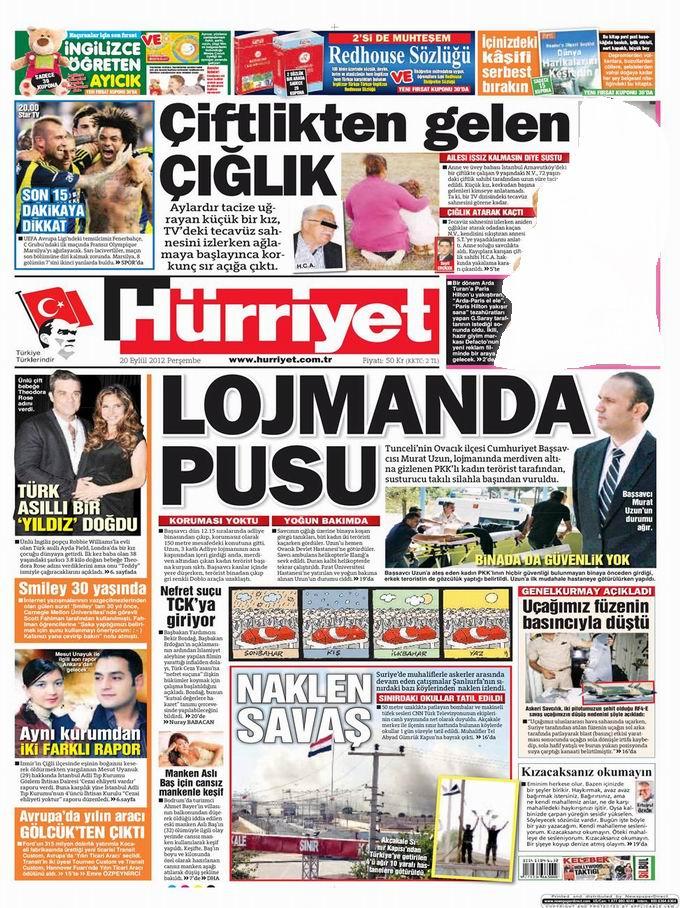 Gazete Manşetleri - 20 Eylül Perşembe 16
