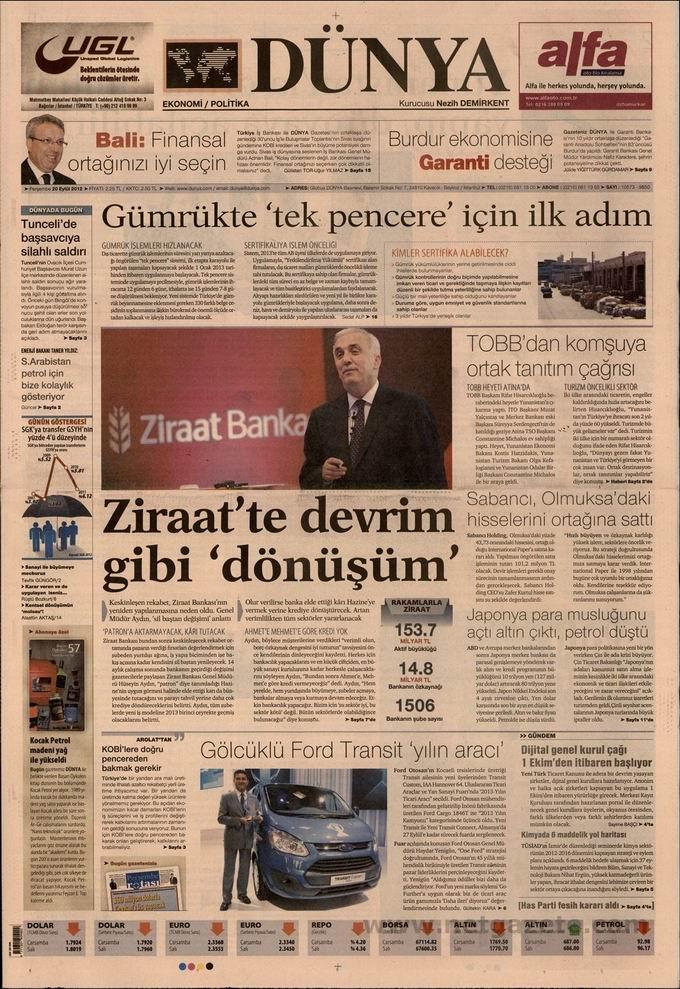 Gazete Manşetleri - 20 Eylül Perşembe 19