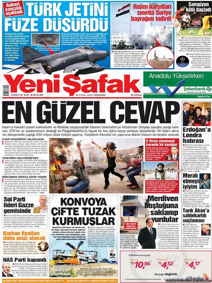 Gazete Manşetleri - 20 Eylül Perşembe 2
