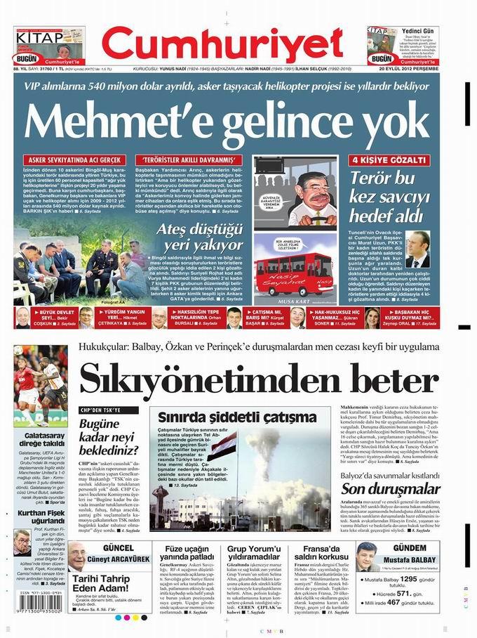 Gazete Manşetleri - 20 Eylül Perşembe 20