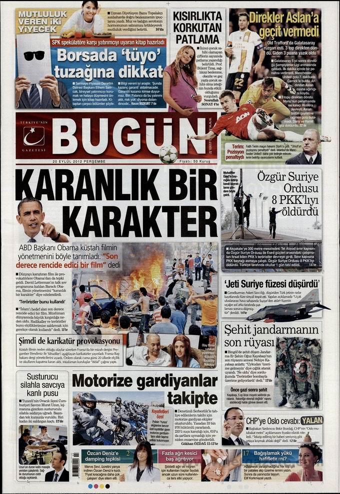 Gazete Manşetleri - 20 Eylül Perşembe 21