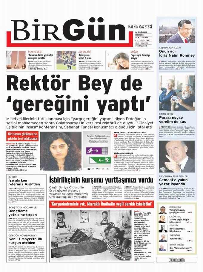 Gazete Manşetleri - 20 Eylül Perşembe 22