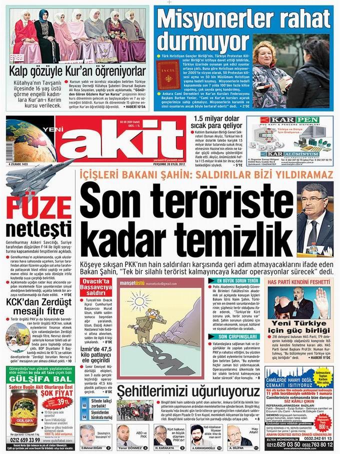 Gazete Manşetleri - 20 Eylül Perşembe 4