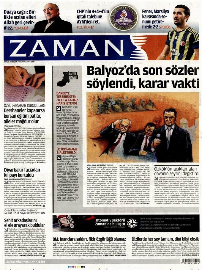 Gazete Manşetleri - 21 Eylül Cuma 1