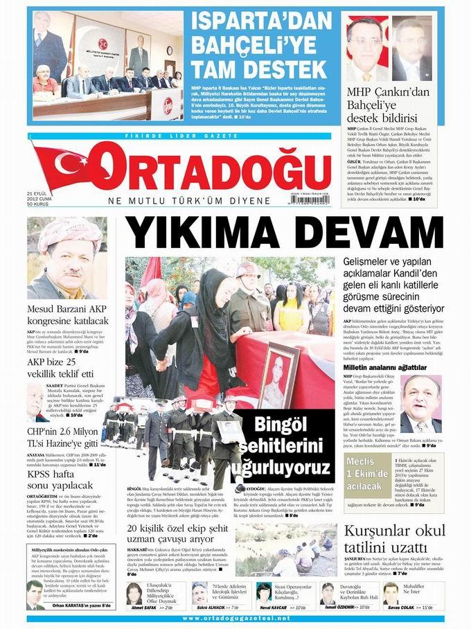 Gazete Manşetleri - 21 Eylül Cuma 14