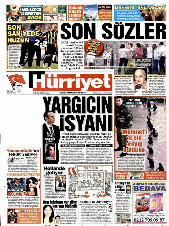 Gazete Manşetleri - 21 Eylül Cuma 18