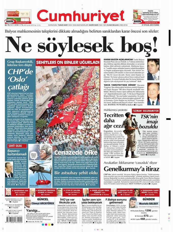 Gazete Manşetleri - 21 Eylül Cuma 21