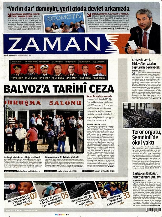 Gazete Manşetleri - 22 Eylül Cumartesi 1