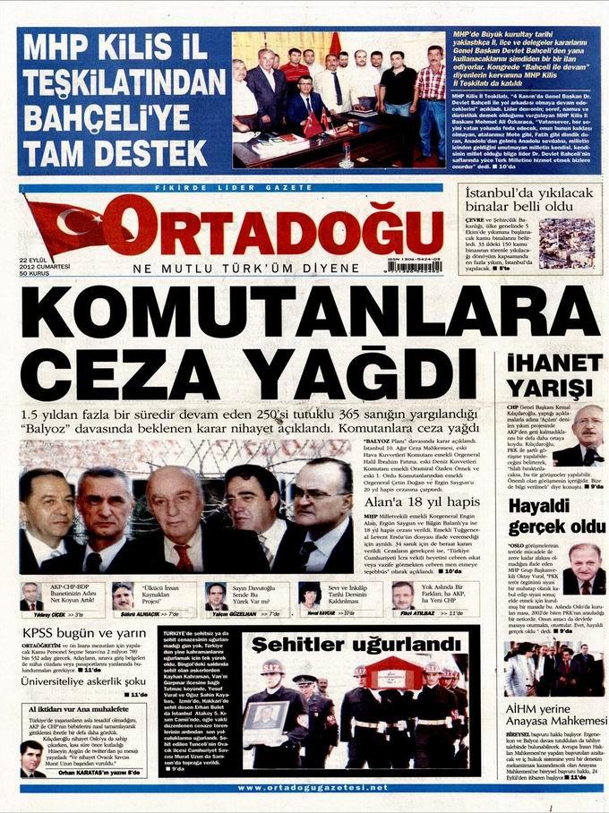 Gazete Manşetleri - 22 Eylül Cumartesi 14