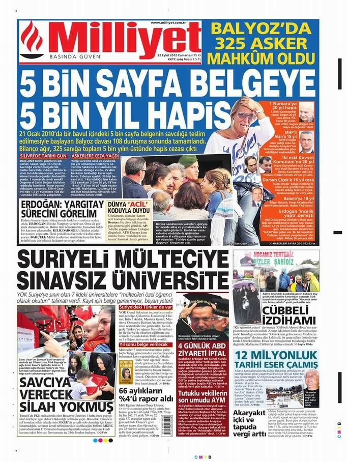 Gazete Manşetleri - 22 Eylül Cumartesi 15