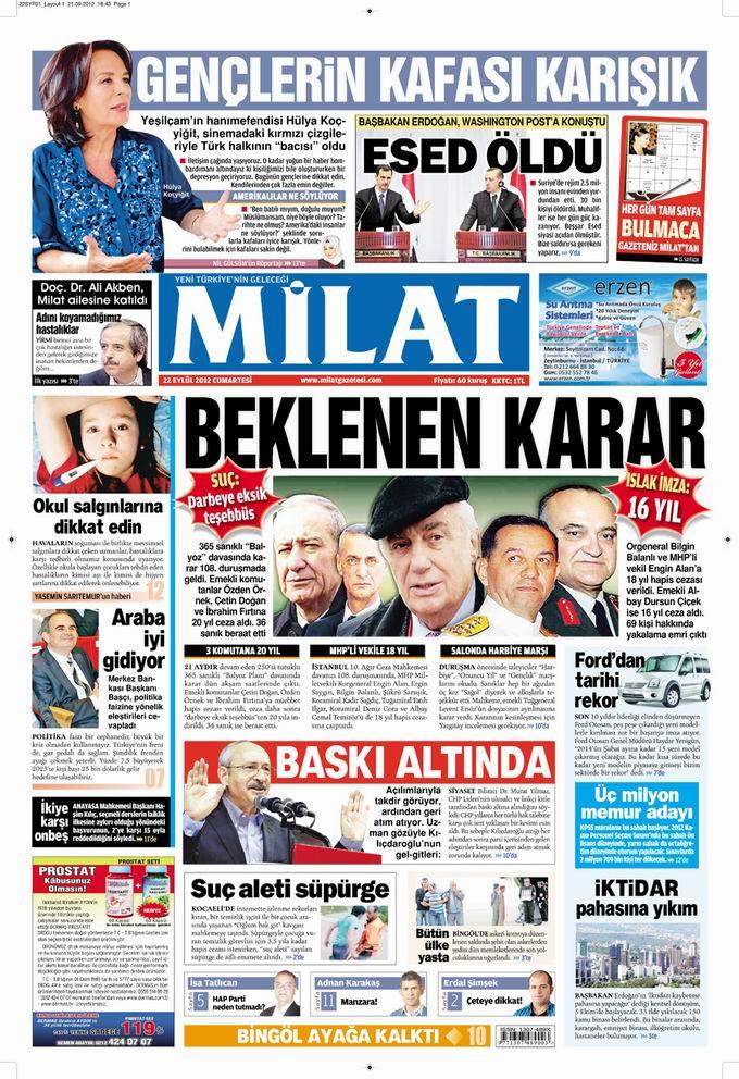 Gazete Manşetleri - 22 Eylül Cumartesi 17