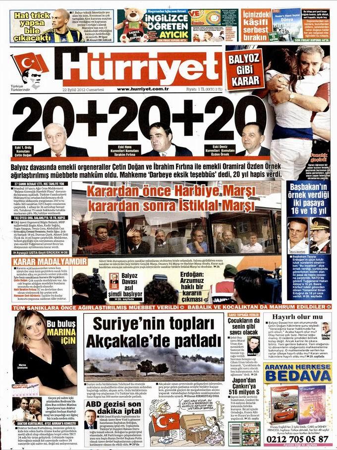 Gazete Manşetleri - 22 Eylül Cumartesi 18
