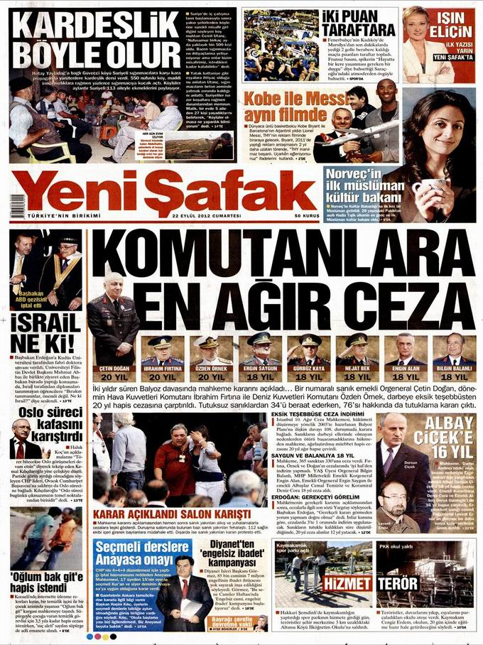 Gazete Manşetleri - 22 Eylül Cumartesi 2