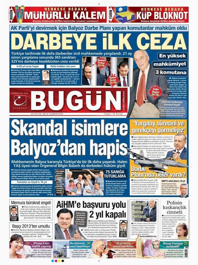 Gazete Manşetleri - 22 Eylül Cumartesi 23