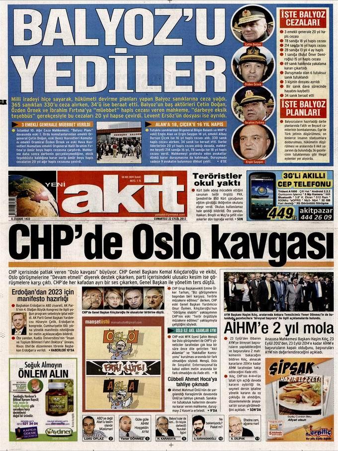 Gazete Manşetleri - 22 Eylül Cumartesi 4