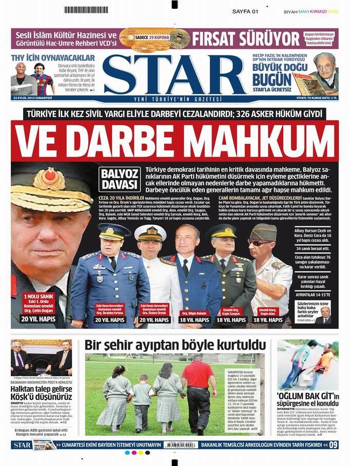 Gazete Manşetleri - 22 Eylül Cumartesi 9