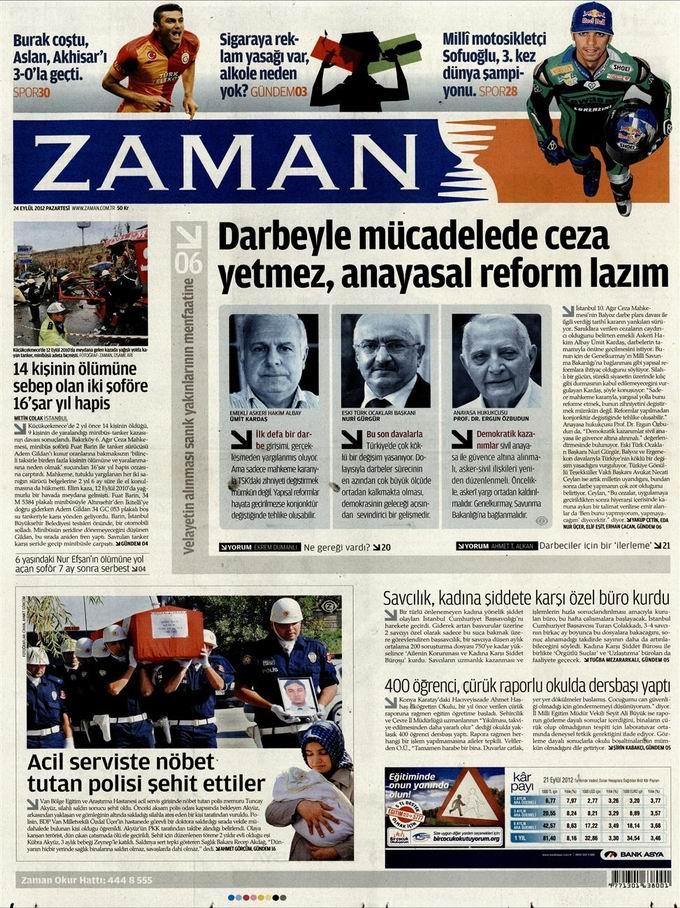 Gazete Manşetleri - 24 Eylül Pazartesi galerisi resim 1