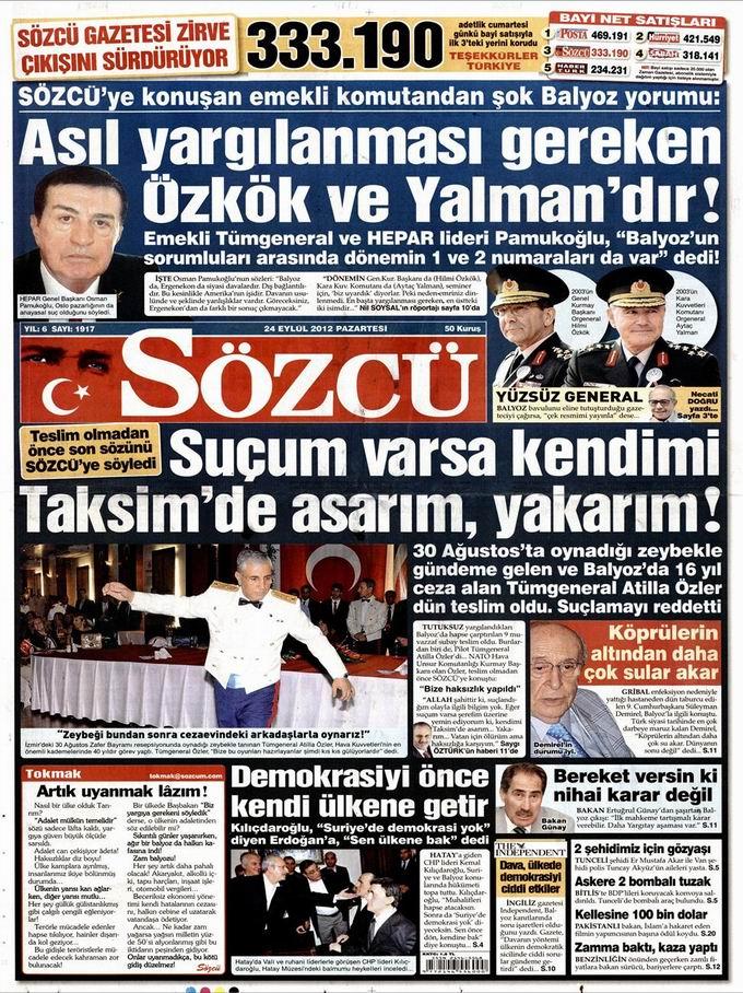 Gazete Manşetleri - 24 Eylül Pazartesi 10