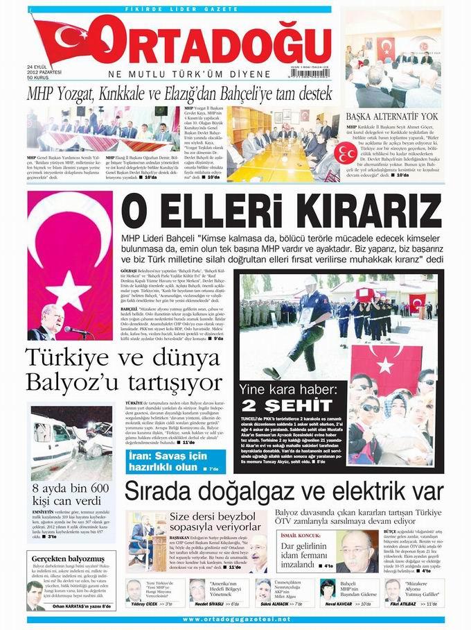 Gazete Manşetleri - 24 Eylül Pazartesi 14