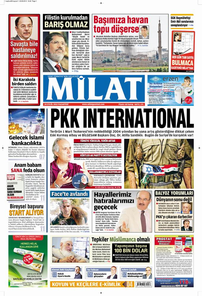 Gazete Manşetleri - 24 Eylül Pazartesi 17
