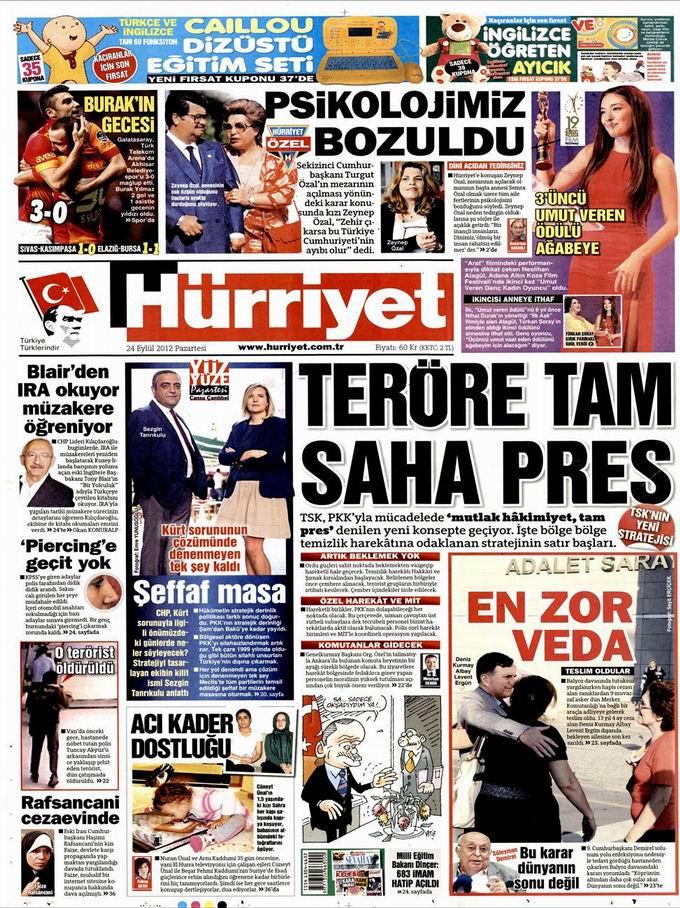 Gazete Manşetleri - 24 Eylül Pazartesi 18
