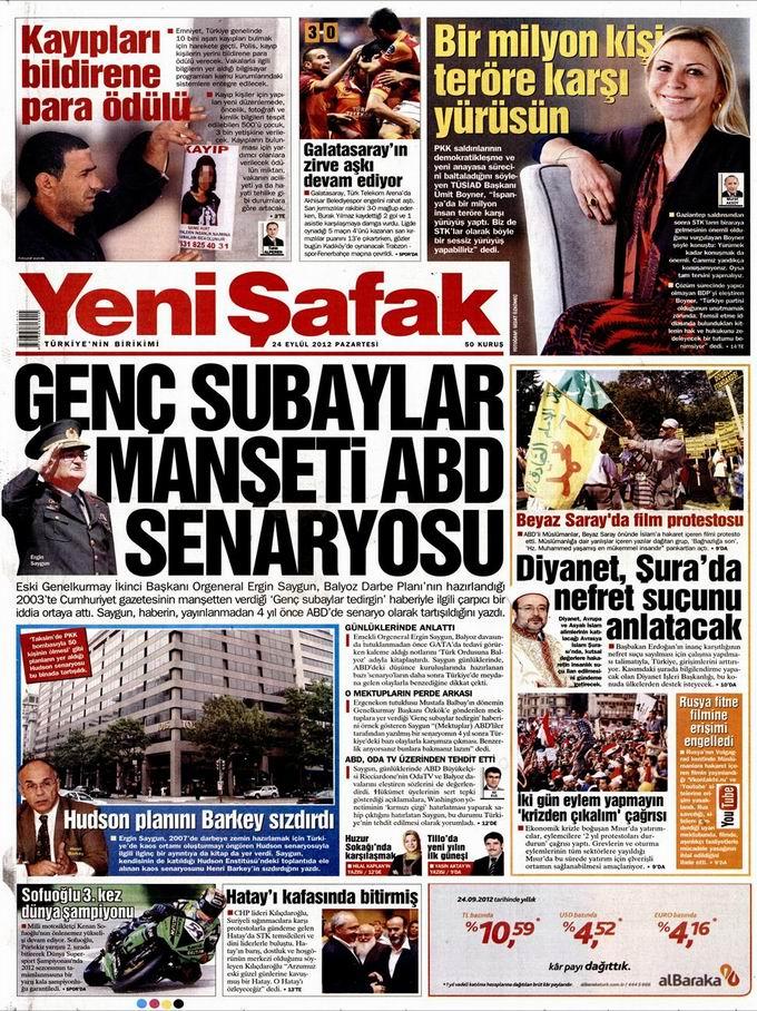 Gazete Manşetleri - 24 Eylül Pazartesi 2