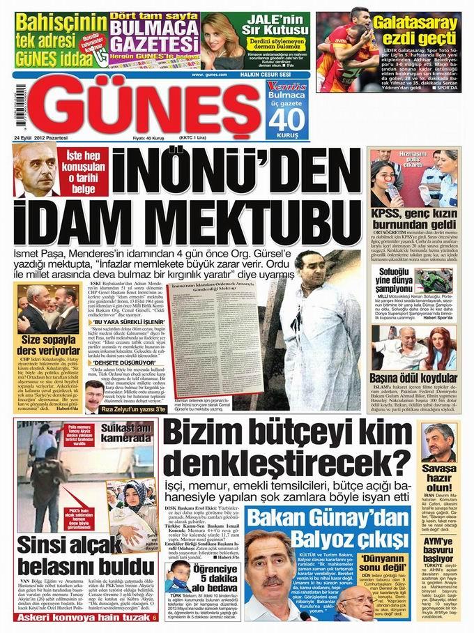 Gazete Manşetleri - 24 Eylül Pazartesi 20