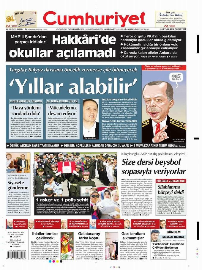 Gazete Manşetleri - 24 Eylül Pazartesi 22