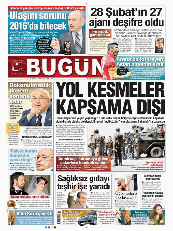 Gazete Manşetleri - 24 Eylül Pazartesi 23