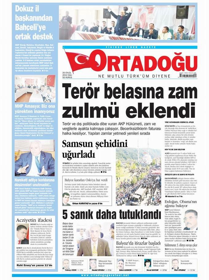 Gazete Manşetleri - 25 Eylül Salı 14