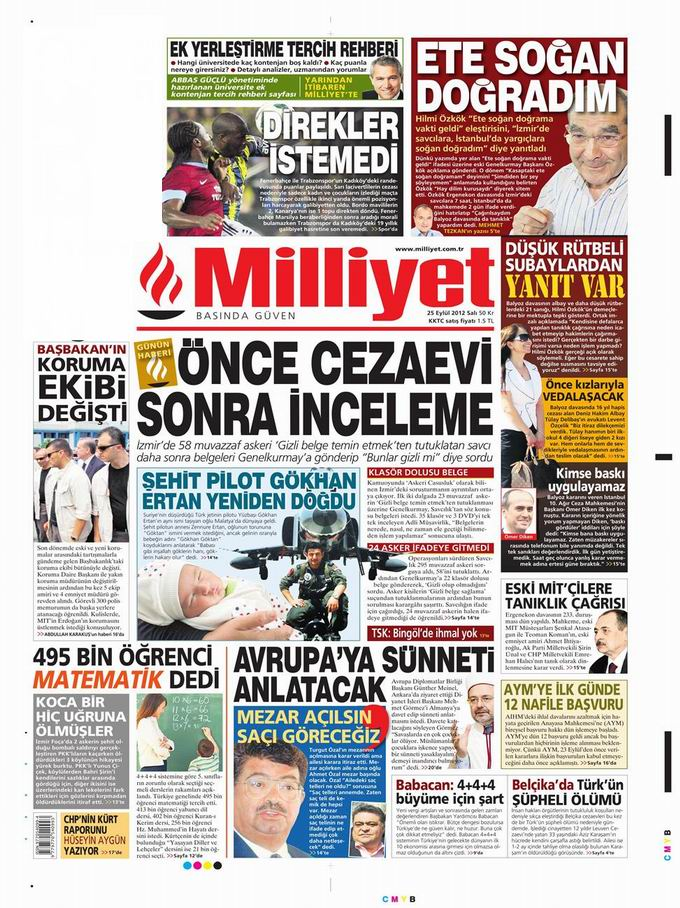 Gazete Manşetleri - 25 Eylül Salı 15