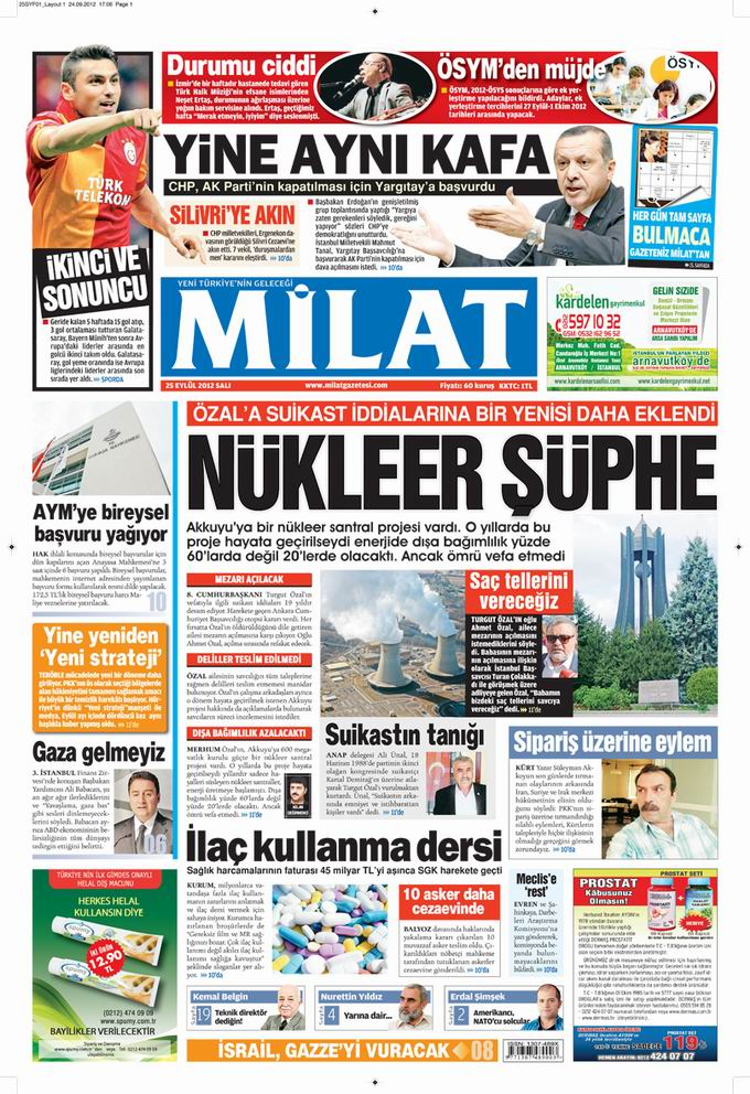 Gazete Manşetleri - 25 Eylül Salı 17