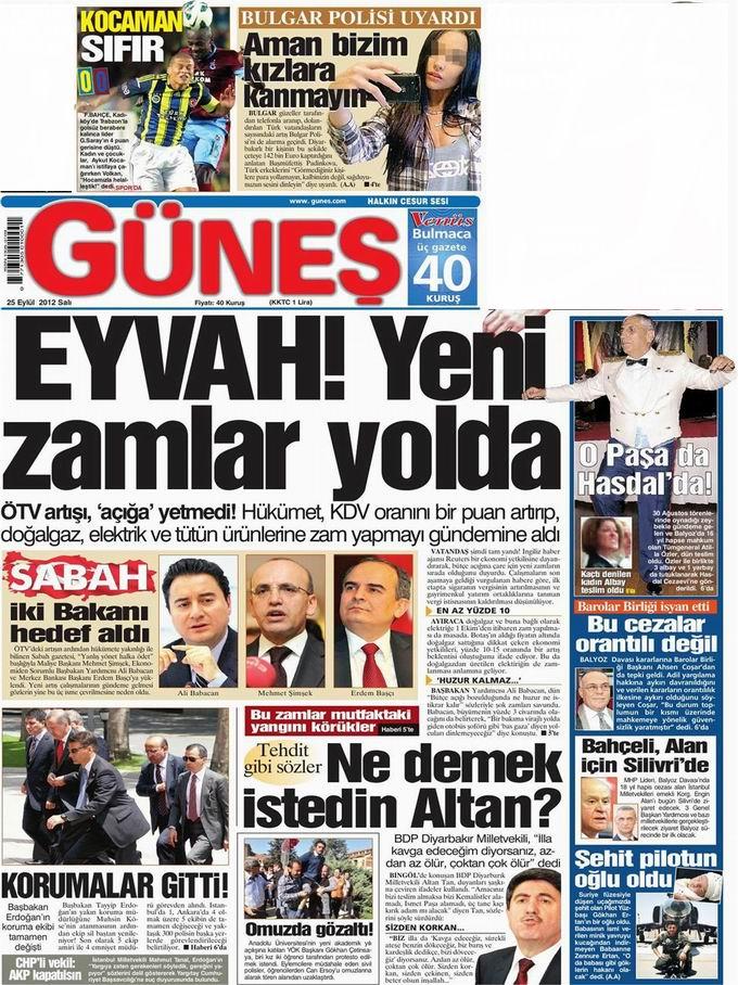 Gazete Manşetleri - 25 Eylül Salı 20