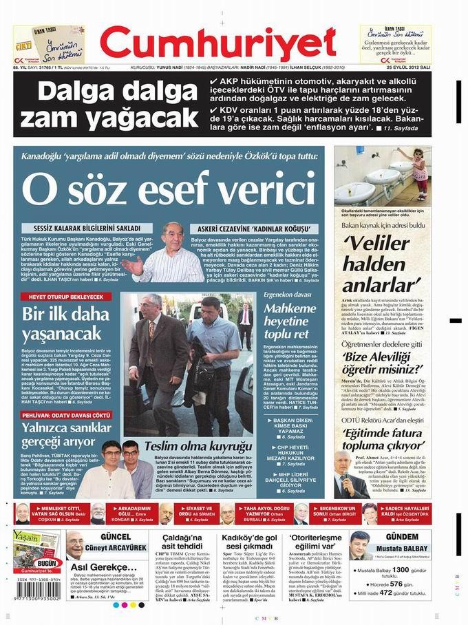Gazete Manşetleri - 25 Eylül Salı 21
