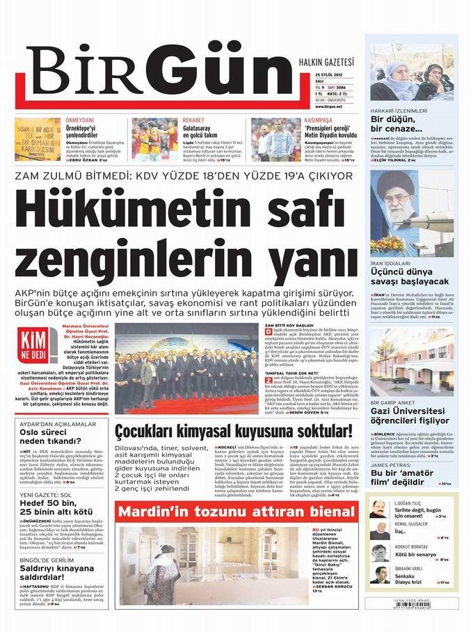 Gazete Manşetleri - 25 Eylül Salı 22