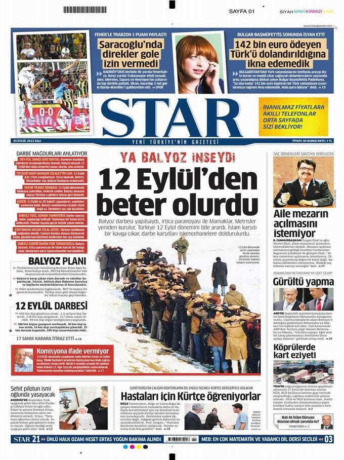 Gazete Manşetleri - 25 Eylül Salı 9